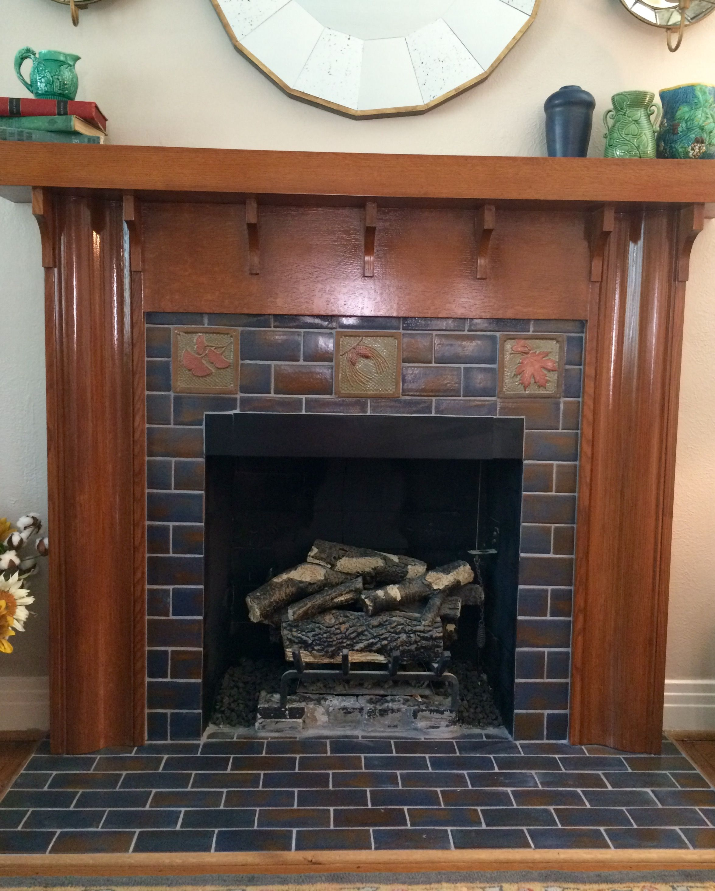 Craftsman style fireplace with fay jones day 6 accent for Craftsman fireplaces photos