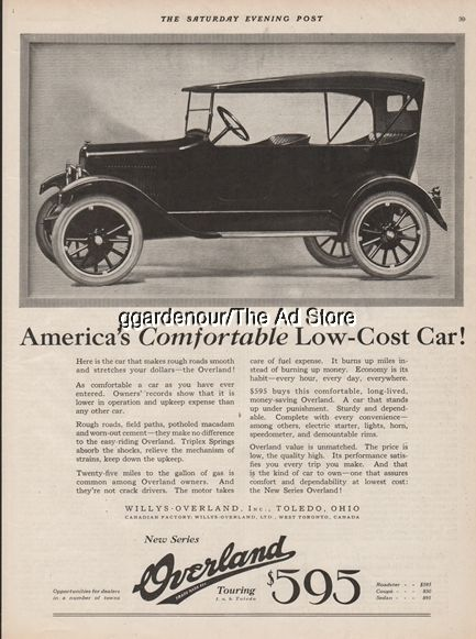 1922 Willys Overland Toledo Oh Ohio Antique Open Touring Motor Car Auto Print Ad Automobile Advertising Willys Overlanding