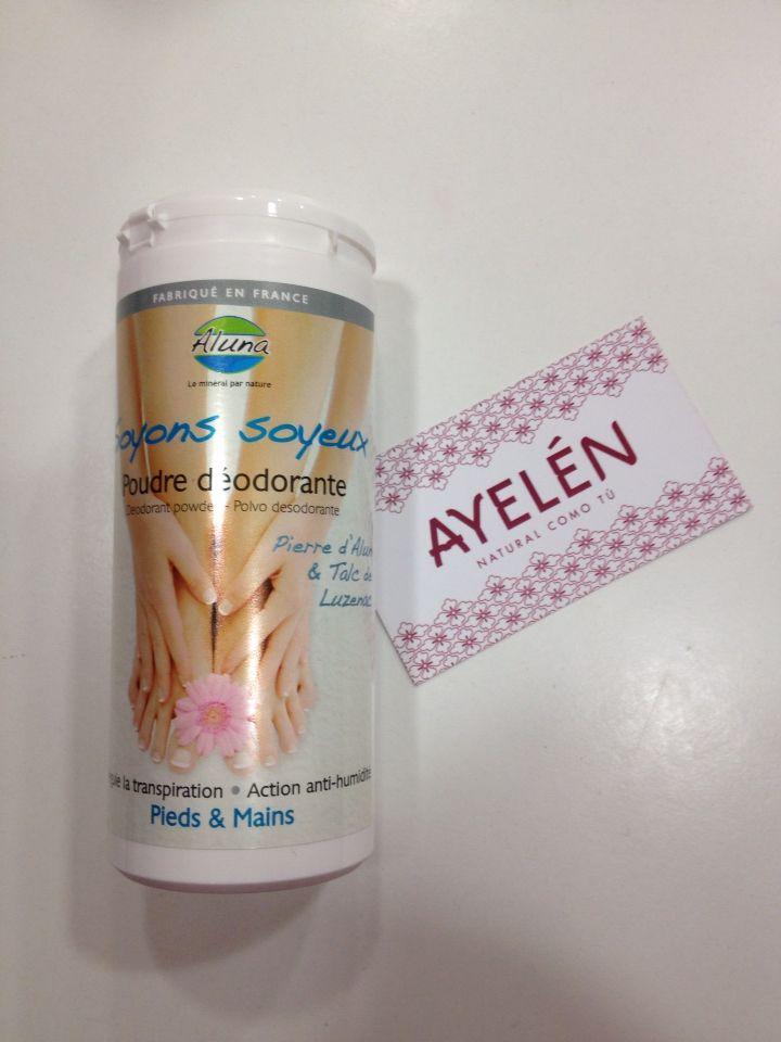 Polvos de alumbre para los pies y las manos. Evita la sudoracion excesiva y el mal olor. www.ayelenatural.com