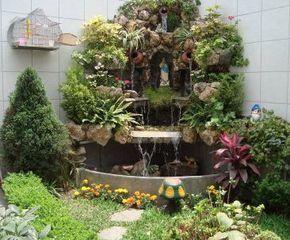 Cascada con gruta como agrandar un peque o jardin - Como hacer un jardin en casa ...