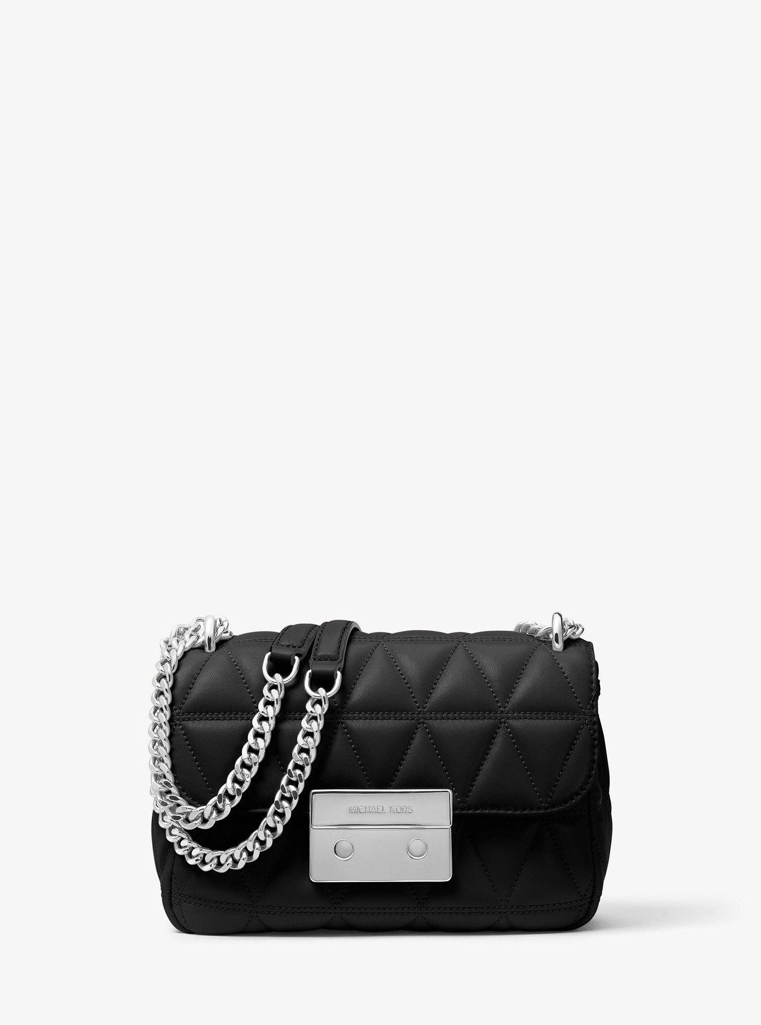 504852c265c6 Michael Kors Sloan Small Quilted-Leather Crossbody - Pearl Grey ...