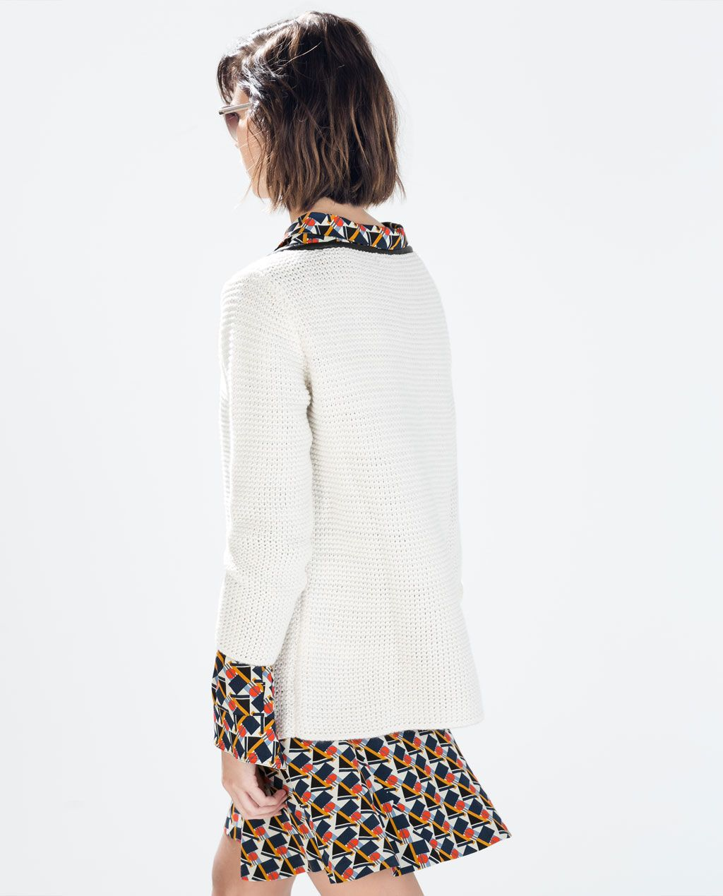 ZARA - WOMAN - SWEATER WITH FAUX LEATHER DETAIL 10-2014