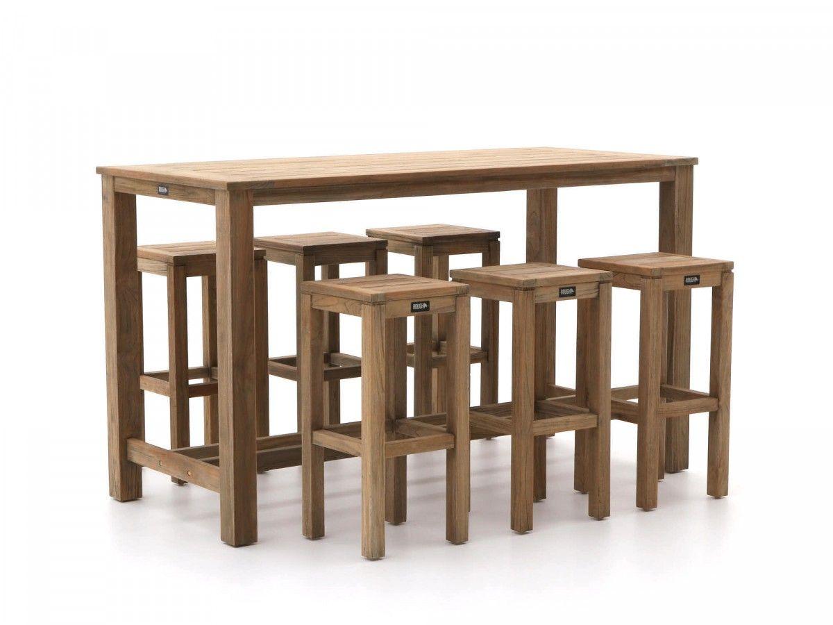 Bartafel Met 6 Barstoelen.Barset Van Teakhout Met Hoge Tafel En Zes Barkrukken Voor