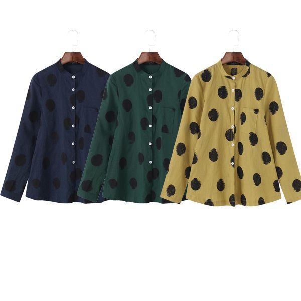 563144341a2d9 Casual Polka Dot Irregular Long Sleeve Stand Collar Women Blouses Cheap -  NewChic Mobile