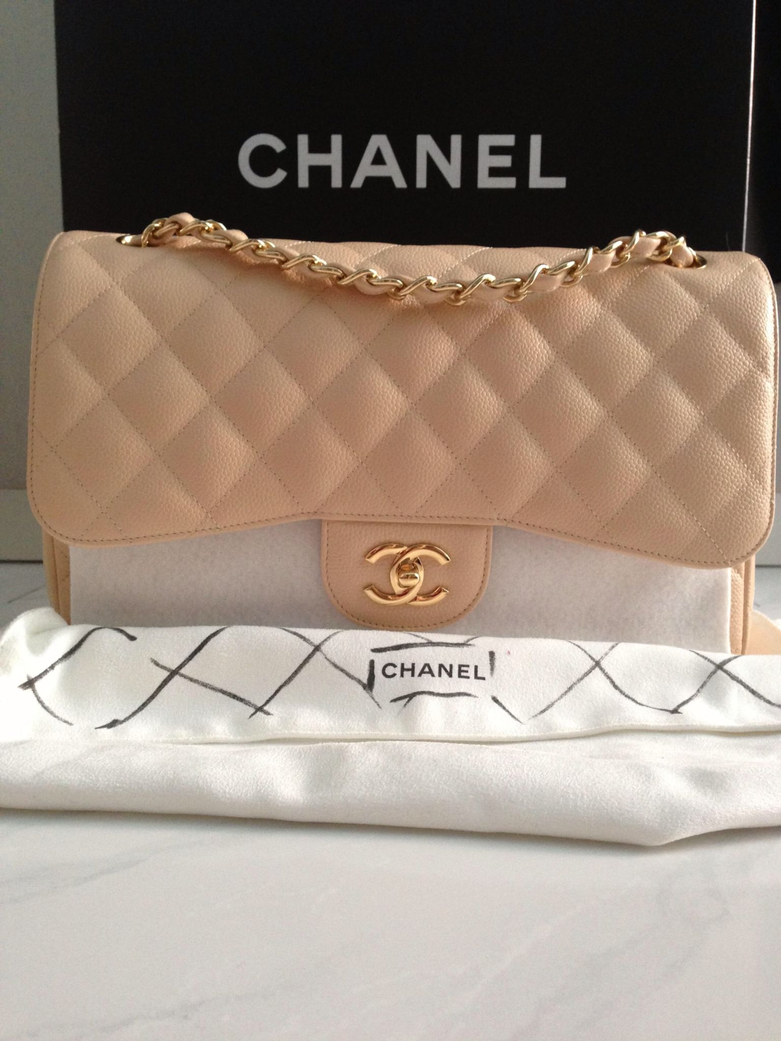 3a93bdf6 Chanel Light Beige Caviar Jumbo Classic Flap with Gold Hardware | I ...