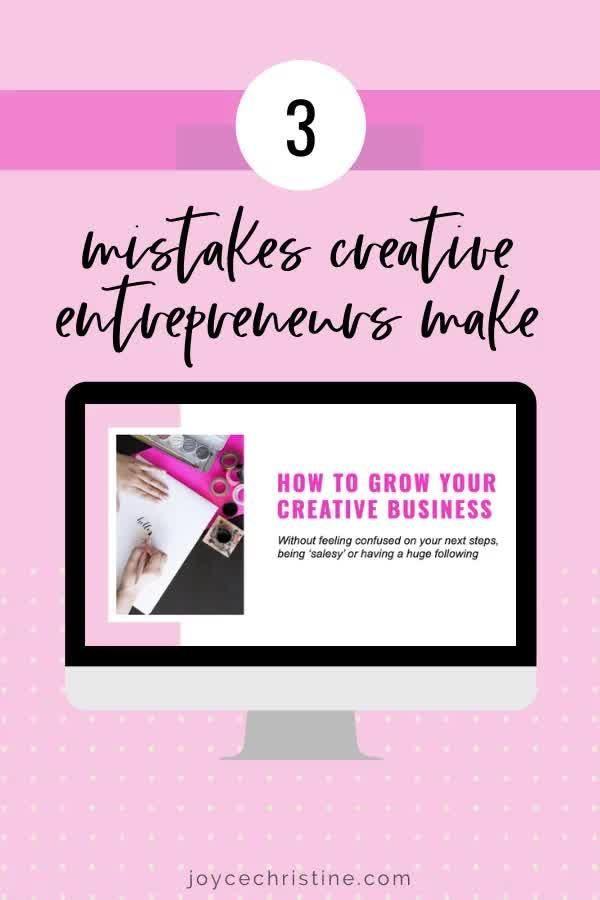 Learn the mistakes that creative business owners make that prevent them from growing their creative businesses. Join now if you own a calligraphy business, watercolor business, illustration business or other creative business.  #creativebusiness #creativebusinessideas #creativebusinessinspiration #creativeentrepreneur #creativebusinessowner