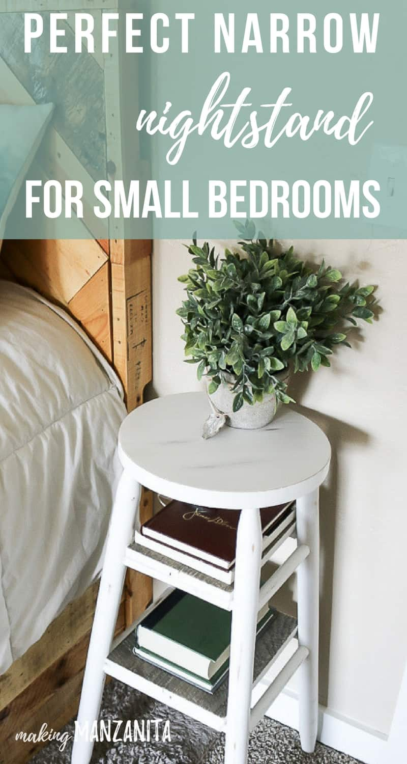 Wooden Step Stool Bedside: How To Upcycle A Bar Stool Into A Narrow Bedside Table