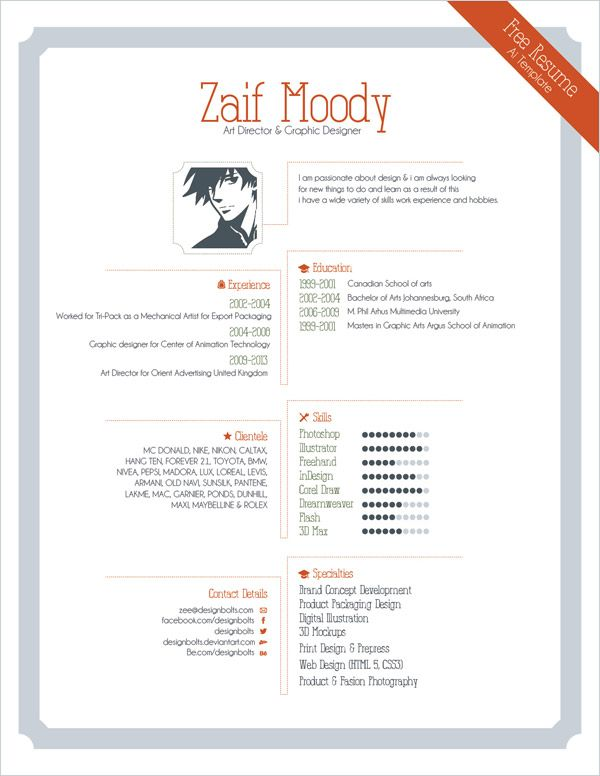 Free Resume Template For Graphic Designers Illustrator Ai Eps File Graphic Design Resume Graphic Resume Indesign Resume Template