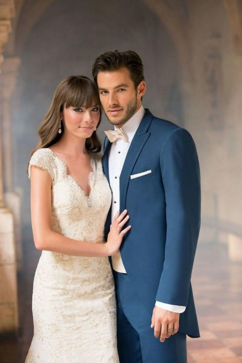 Navy Blue And Gold Wedding Tux