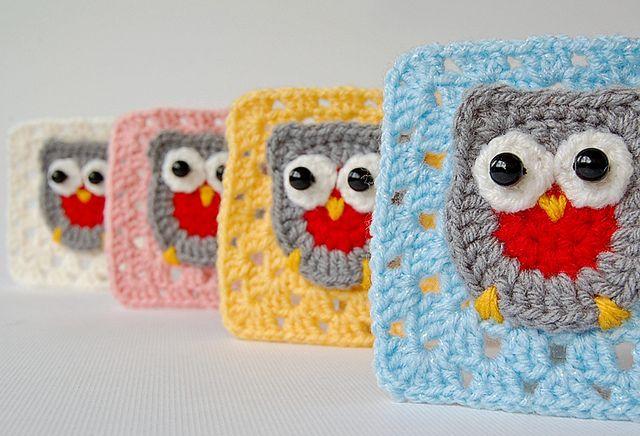 Owl granny square   Square, Eule und Häkeln