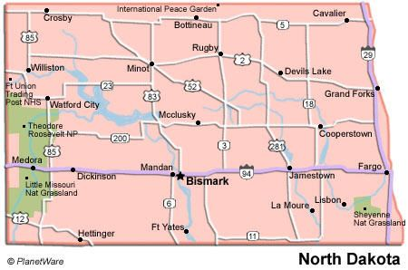 Map of North Dakota showing National Parks MAPS Pinterest