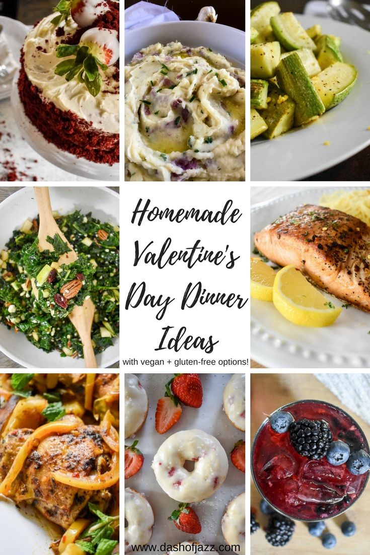 Find all the inspo you need to create the perfect romantic homemade Valentine's Day or date night dinner from this mix-and-match menu of appetizers, salads, entrees, side dishes, desserts, and even cocktails! Also includes vegan and gluten-free options! by Dash of Jazz via @dashofjazzblog