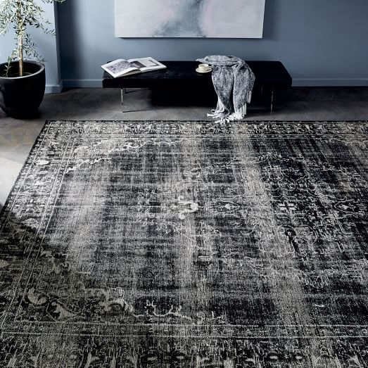 I Think This Would Give A Super Glam Look With All The Other Decor In Your Room Caspian Distressed Rug Black Distressed Rugs Rugs Handmade Home Decor