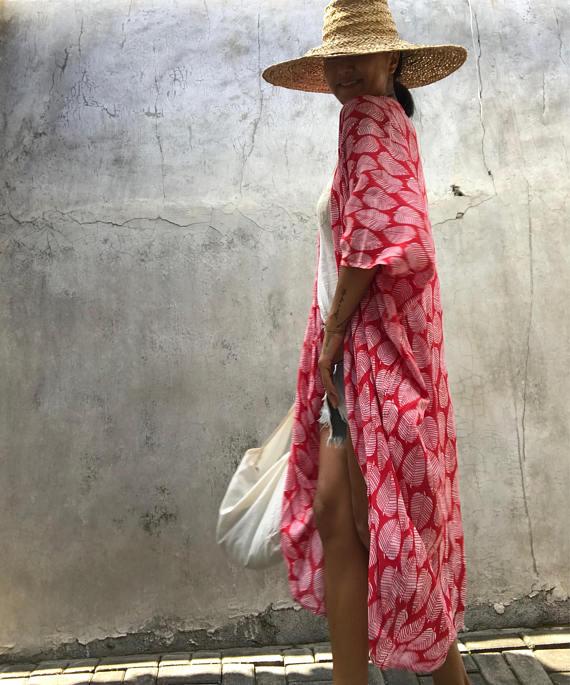 Daywear Colourful Kimono Cardigan Summer Clothing Boho Hand Painted Tie-Dye Rayon Jackets Handmade Thailand,Bohemian