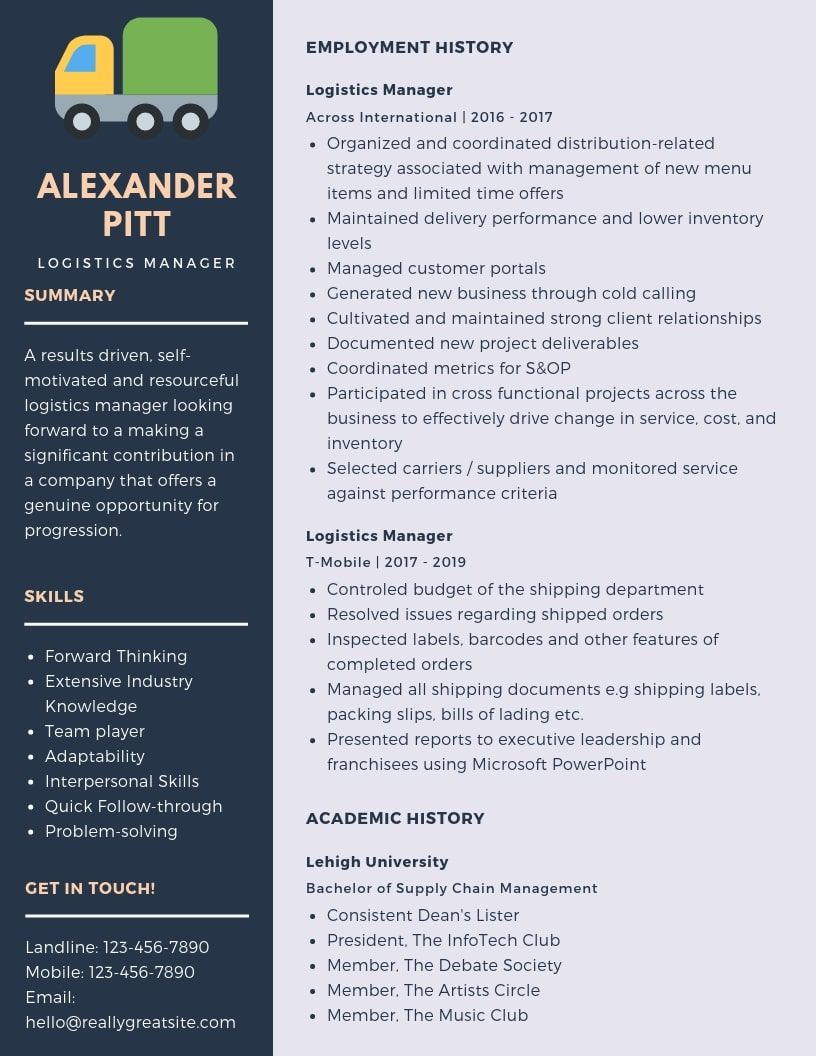Logistics Manager Resume Samples & Templates [PDF+Word
