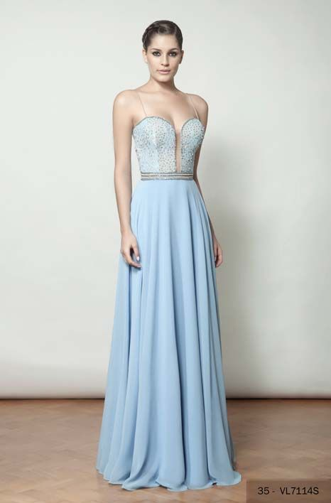 c04dcba07 07 vestidos de festa azul claro | brides maids | Prom dresses ...