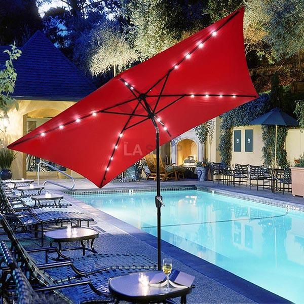 Rectangular Patio Umbrella With Solar Lights 10'x65' Solar Rectangle Tilt Patio Umbrella 20 Leds Color Opt