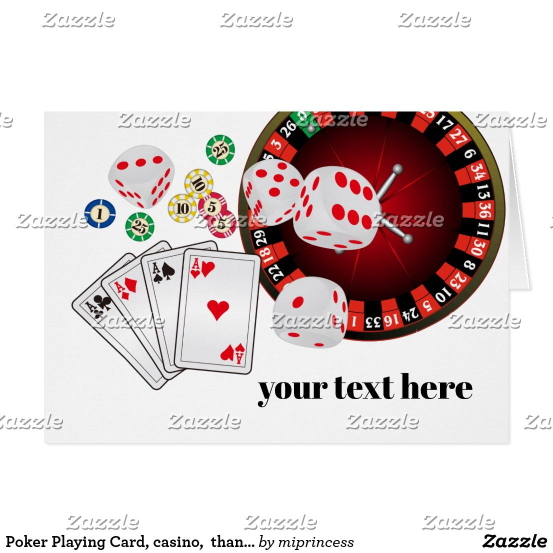 Poker Playing Card Casino Thank You Card What You Want