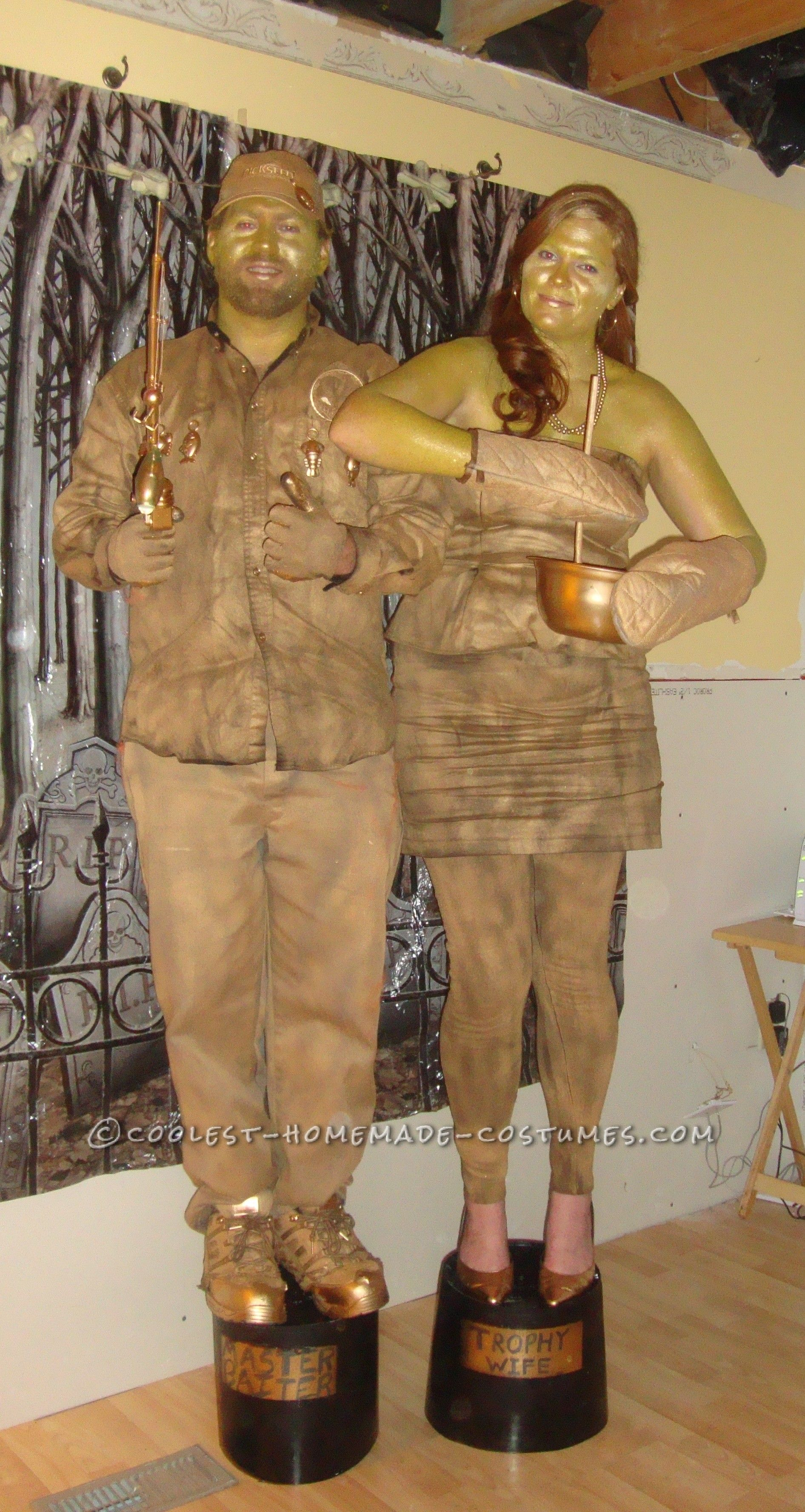 Gold Trophy Wife and Master Baiter Couple Costume | Homemade ...