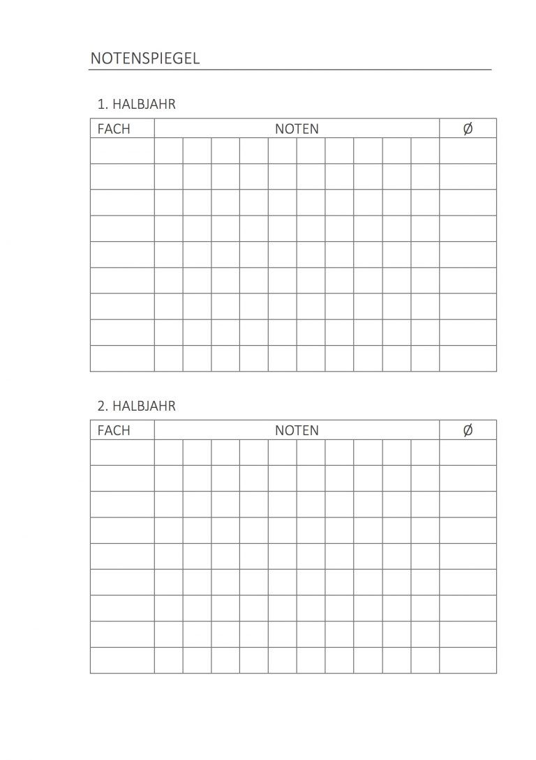 Hausaufgabenheft Notenspiegel | stationery /printables | Pinterest ...