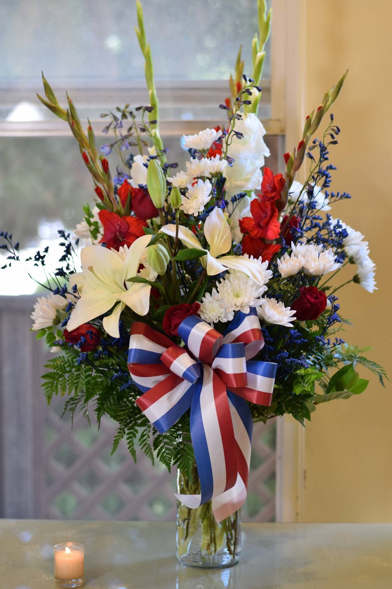 A red, white and blue tribute for a veteran. Same day