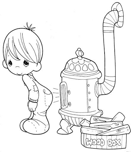 Niño en pijama para colorear de los precious moments | Pintar ...