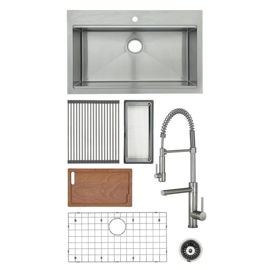 Giagni Pallazzio Dual Mount 33 In X 22 In Stainless Steel Single Bowl 1 Hole Workstation Kitchen Sink All In One Kit With Drainboard Lowes Com In 2021 Kitchen Sink Sink Kitchen Sink Faucets