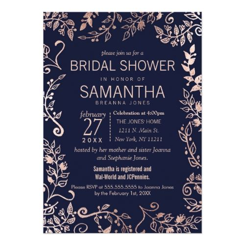 Rose Wedding Invitations Elegant Navy Blue Rose Gold Floral Bridal