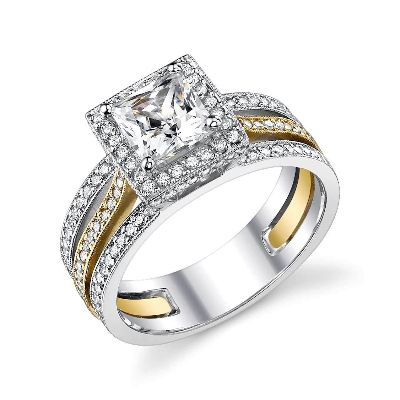Two Tone Engagement Ring I Love The 2 Sets Even