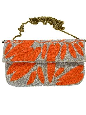 Kc Malhan Handbags Beaded Clutch With Leaf Pattern