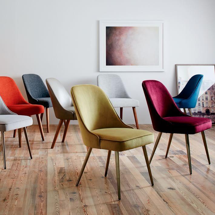 Mid Century Upholstered Dining Chair Velvet Comedor De Lujo
