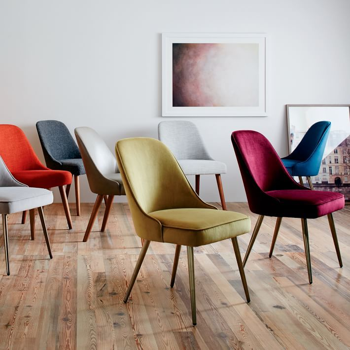 Mid Century Upholstered Dining Chair Velvet Bed Dining Room