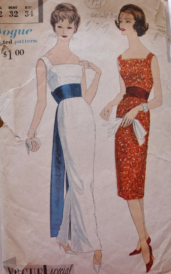 1960s Evening Gown Obi Sash Cummerbund  Vogue 4977 Vintage Sewing Pattern on Etsy, $58.00