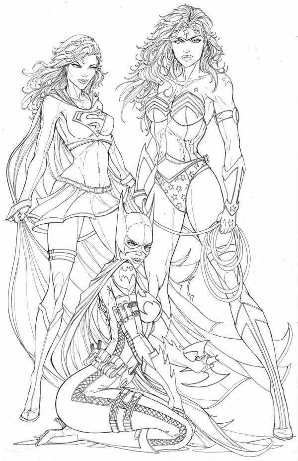 Supergirl Wonder Woman And Batgirl Superhero Coloring Comic