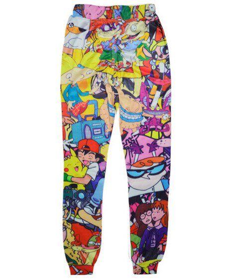 fc141dacc596f men/women joggers pants 90's cartoon pokemon pikachu 3d… | 90's ...