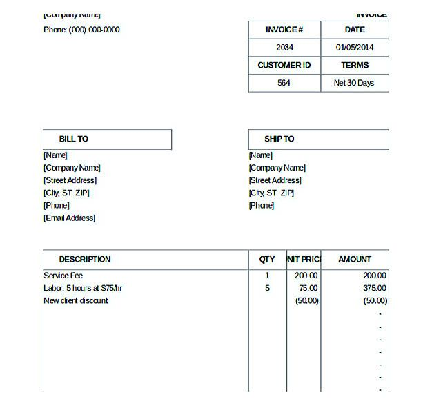 Billing Invoice Template  Free Invoice Template Download You Can