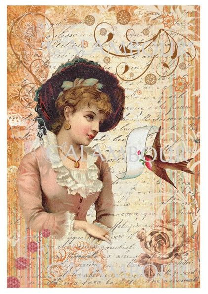 Calambour Paper for Decoupage and decoration, Pattern: lady with swallow and writing. Details: size 35x50 cm, printed on 60 g/mq Easy Paper DGE096  http://www.calambour.it/
