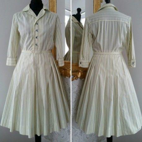 bb112af6fece Retro vintage bomullsklänning randig grå-gul vid kjol 50-tal. For sale
