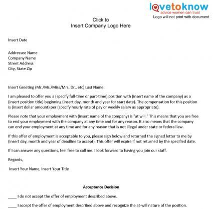 Printable Sample Offer Letter Sample Form Laywers Template Forms - employment acceptance letter