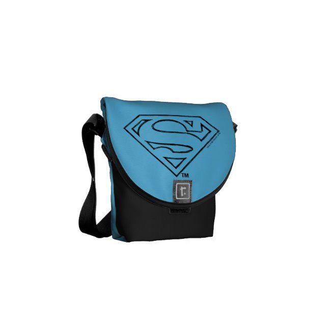 Superman S-Shield  Simple Black Outline Logo Messenger Bag ,