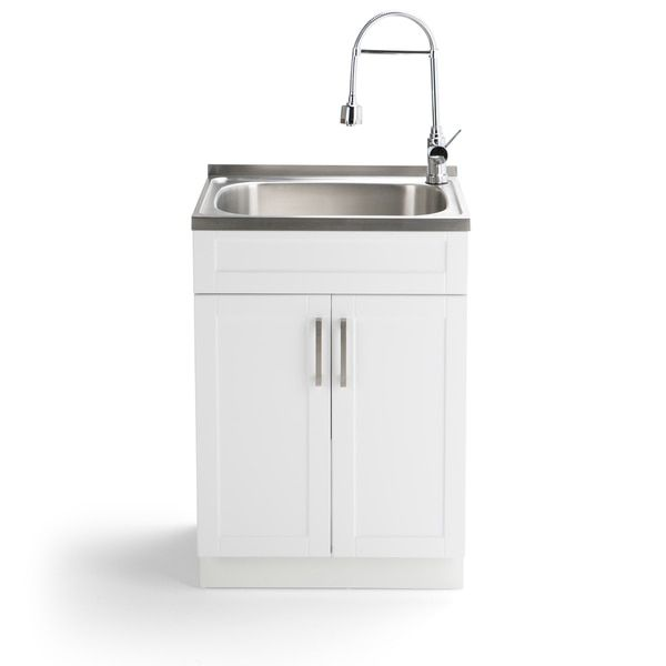 Wyndenhall Hartland 24 Inch Laundry Cabinet With Faucet And Stainless Steel Sink
