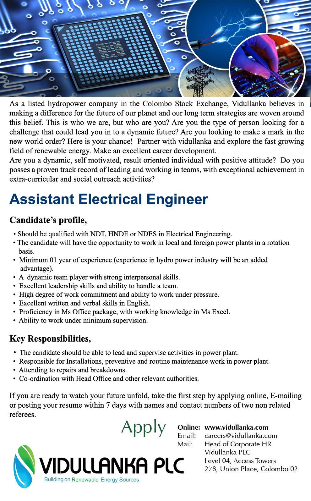 Assistant Electrical Engineer At Vidullanka Plc Career First Electrical Engineering Engineering Engineering Jobs