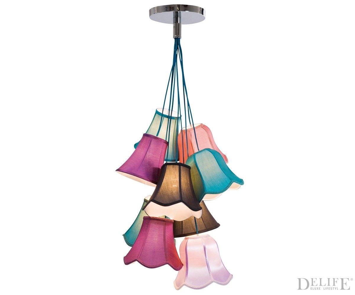 Deckenleuchte saloon uni 9 60x119 cm bunt mit 9 schirmen for Lampe mit mehreren schirmen