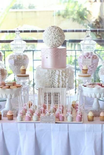 Pink And Pearl Wedding Dessert Table Wedding Desserts Wedding Candy