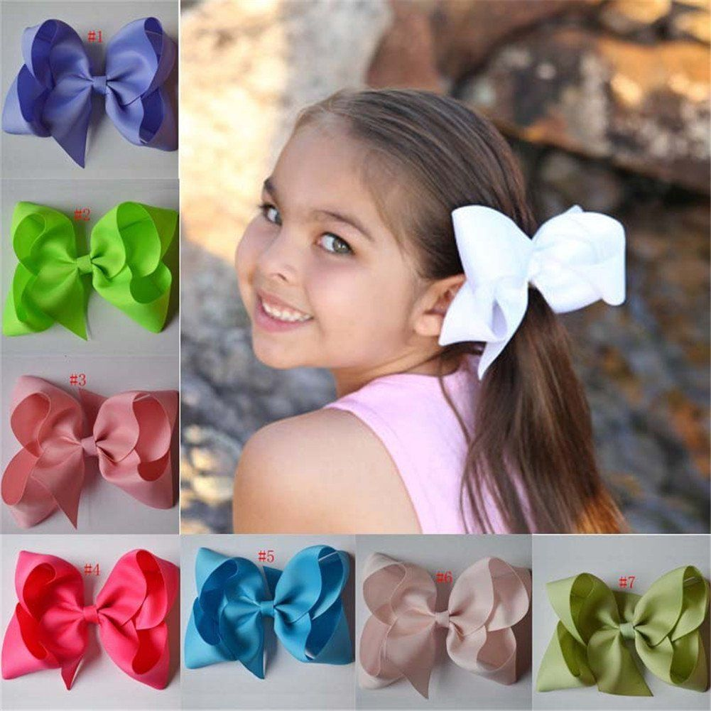 Bzybel boutique big hair bow clips grosgrain ribbon barrettes