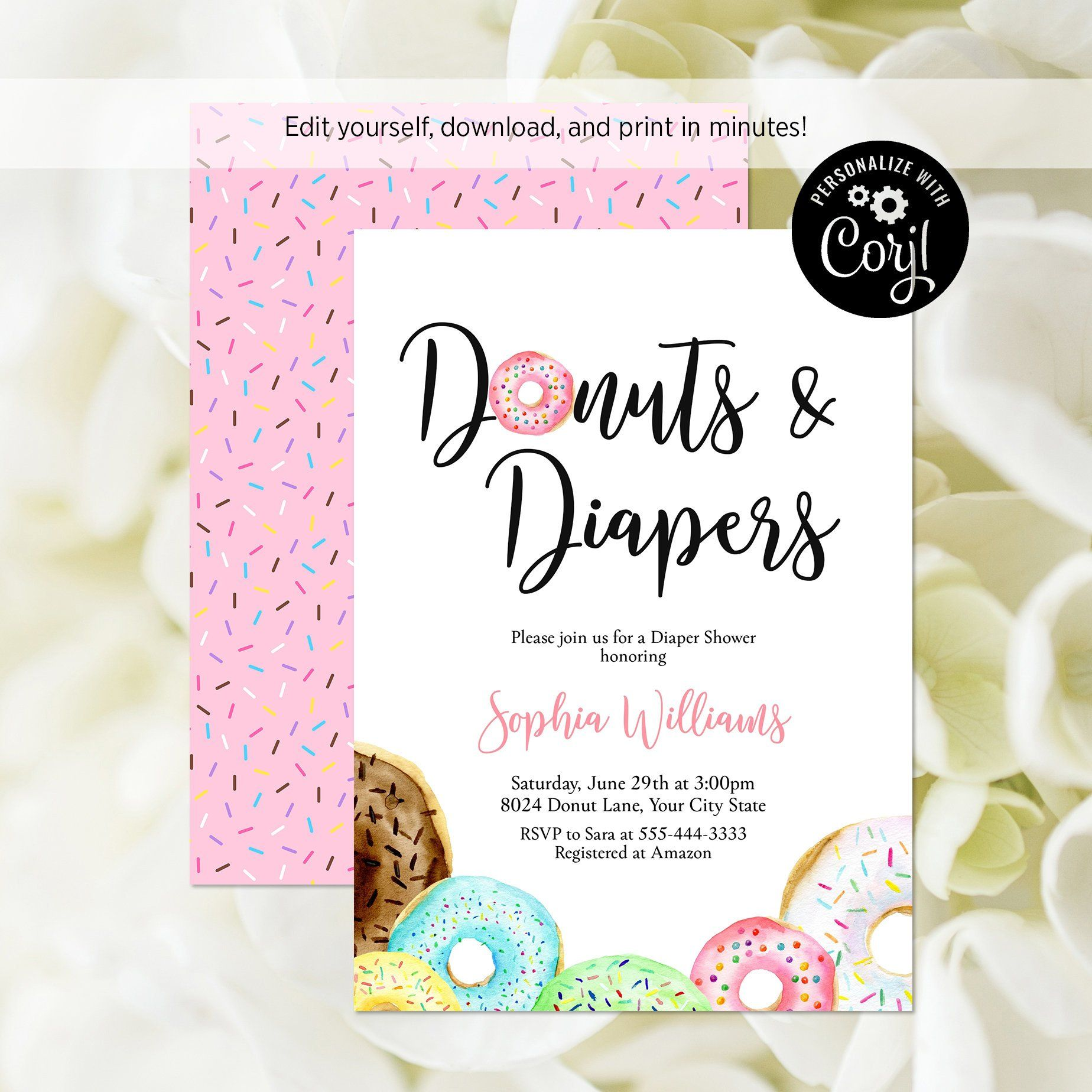 Donuts And Diapers Baby Shower Invitation Editable Template