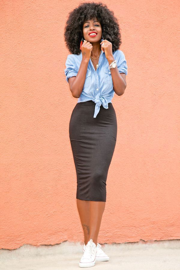 Chambray Shirt + Stretch Pencil Skirt    Source by raemiller3 #Casual Outfits skirt #chambray #Pantry #pencil #shirt #SKIRT #Stretch #Style