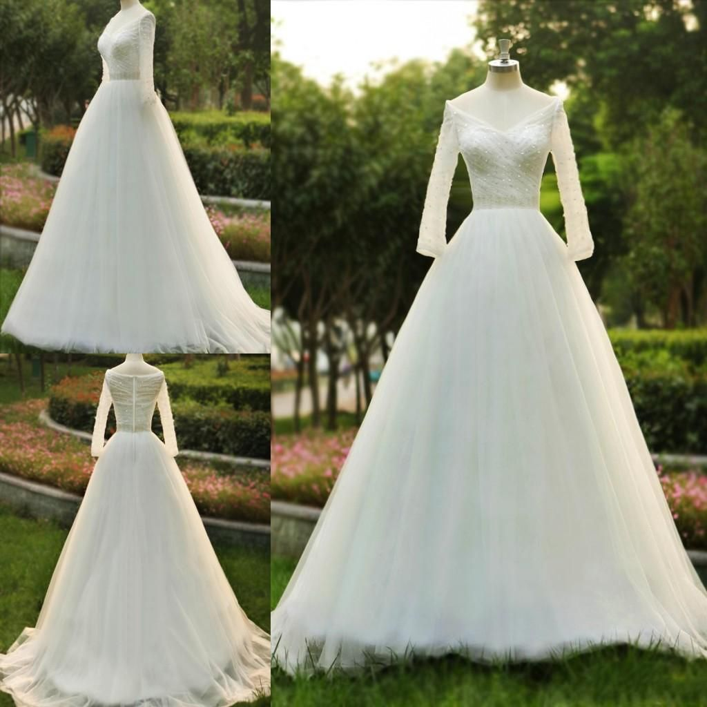 Real sample long sleeve wedding dress off the shoulder beaded bodice