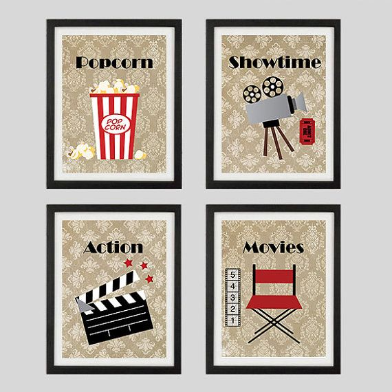 Home Theater Wall Decor popcorn showtime action movies home theater artfabbprints