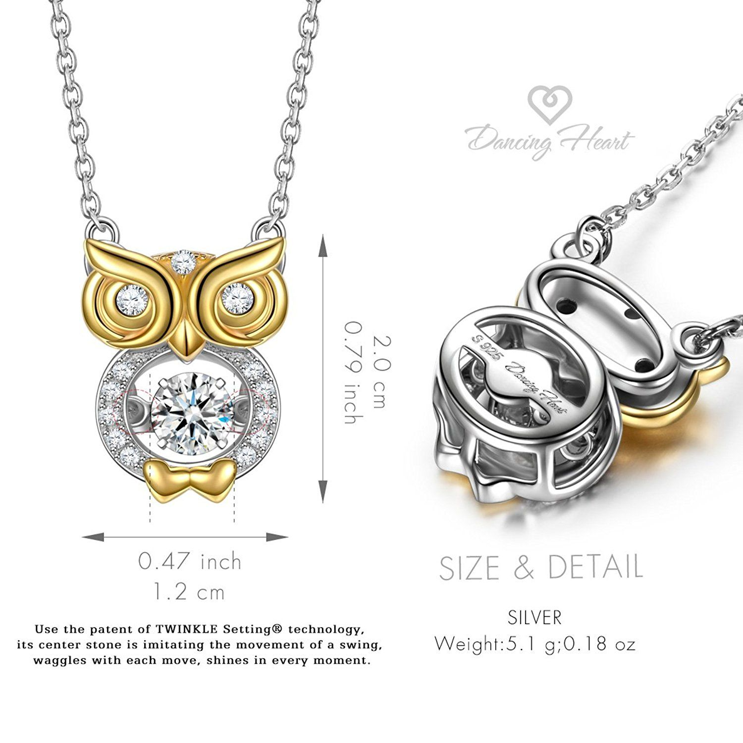 c02c6c2cc3bc7 Dancing Heart Bird of Wisdom 925 Sterling Silver Owl Animal Necklace Fine  Jewelry Gifts for Her ** Visit the image link more details.